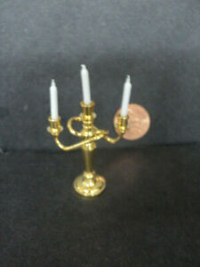 12 Dollhouse Miniature Candles with Pink Candlestick Holders Glass BD H189 1