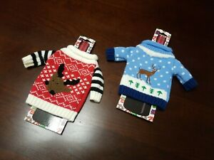 Wine Bottle Knitted Sweater Sleeves / Cover  Set of 2  NWT   CUTE CHRISTMAS GIFT