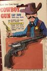 Vintage COWBOY CAP GUM Diecast Keychain Pistol on Card Hong Kong