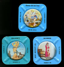 3 Pin-up Girl Adorned Tin Advertising Ashtrays 1950s Frahm Bill Layne Cheesecake