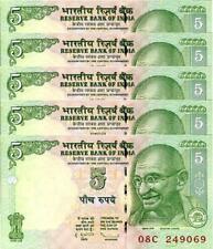 India 5 Rupees 2009, UNC, 5 Pcs LOT, Consecutive,P-94Aa, Letter E,MAHATMA GANDHI