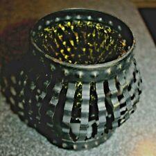 Candle Holder Metal Mcm black green Diamond Point Votive goth Vtg 2 Piece Nos!