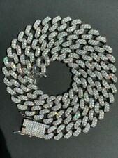 Para Hombres Cadena Eslabón Cubano de Miami Real Oro Blanco Sobre Plata Inoxidable 15mm Diamante
