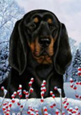 Winter House Flag - Black and Tan Coonhound 15402