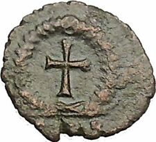 THEODOSIUS II 425AD Authentic Ancient Roman Coin Wreath, cross within i51073