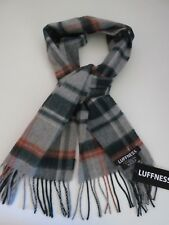 Luffness boys 100% cashmere scarf grey green orange checked NEW made in Scotland