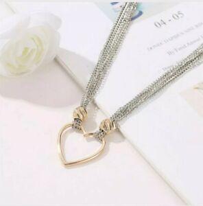 Womens Girls Fashion Multi Strand Silver Chain Choker Necklace Gold Love Heart