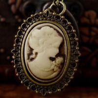 Antique Quartz Bronze Vintage Pendant Women Pocket Watch Retro Necklace Chain