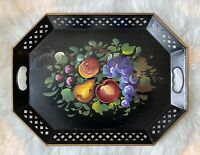 "Vintage Hand Painted Fruit Nashco Toleware Style 20"" Serving Tray Large Metal"