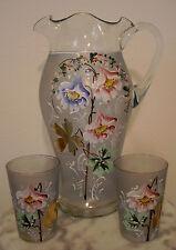 Victorian Antique Art Glass Tankard  Lemonade Set with Enamel Decoration