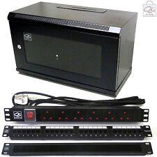 6U 300mm Black Data Cabinet + C5e Patch Panel, PDU, Brush Bar Network Comms Rack