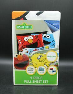 Sesame Street - 4 Piece Full Sheet Set Elmo Cooke Monster Big Bird (New)