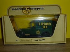 MATCHBOX BOITE MODELS OF YESTERYEAR = REF Y5 - 1927 TALBOT - LIPTON TEA