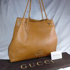 Authentic Gucci Gifford Brown Leather Large Shoulder Tote Handbag Purse Ex Con