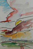 "JOSE TRUJILLO ORIGINAL Watercolor Painting Expressionism 6x9"" Mountains Sunset"