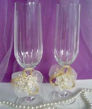 "IVORY Decorations BURLAP Wedding Flute Toasting WINE Glasses 8"" Champagne (a47 z"