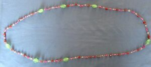 Beautiful Vintage Glass Bead Necklace Over 60 Beads! 54 Inches