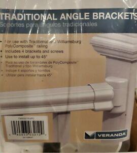 White Vinyl Veranda Traditional Left Right Angle Bracket Kit Low Maintenance 4Pc