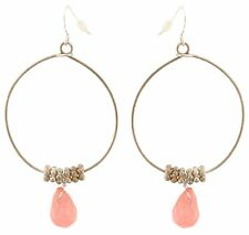 Zest Silver Round Wire with Faceted Bead Drop Earrings for Pierced Ears Pink