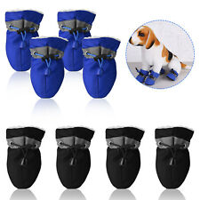 4Pk Warm Winter Pet Dog Boots Cotton Anti-slip Reflective Puppy Shoes Apparel Us