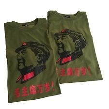 New Lot of 2 (XL) MAO TSE TUNG SERVE THE PEOPLE Green Shirt Military Communist