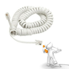 2M Telephone Handset Cable Curly Cord RJ10 Coiled Phone Lead Extension White