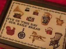 "'GIVE US THIS DAY OUR DAILY BREAD"" LORD'S PRAYER CHRISTIAN NEEDLEPOINT FRAMED"