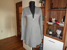 UNBRANDED LOVELY GREY KNITTED WOOL AND CASHMERE SEMI-OPEN FRONT CARDIGAN-S,8-UK