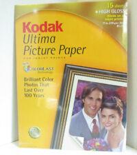 Kodak Inkjet Ultima Picture Paper 15 sheets High Gloss 8 1/2 x 11 8110579 sealed