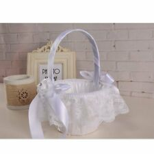 White Wedding Basket Satin Bowknot Rhinestone Lace Flower Girl Basket Decor