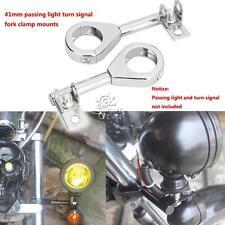 41mm Chrome Passing Light Turn Signal Relocation Fork Mounts For Honda Cruiser