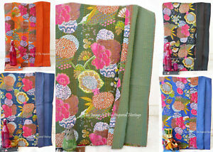 New Indian Art Handmade Kantha Work Blanket Quilt Twin Size Cotton Bed Cover