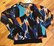 NWT Womens CHELSEA & THEODORE Blue Orange Pullover Sweater Tank Top Size XL