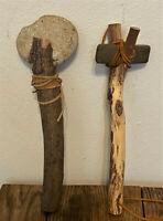 Pair Vintage Native American Ceremonial Stone Tools, Ax, War Hammer, Adze, Club