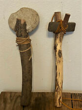 Pair Vintage Native American Ceremonial Stone Tools, Ax, War Hammer, Adze, Club