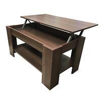Redstone Coffee Table - Black or Dark Walnut- Lift Up Top with Storage Dark Waln