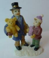 Christmas Village Miniature Father Daughter and Teddy Bear people figurine