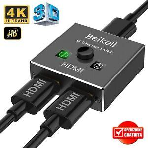 ✅ SWITCH SPLITTER SDOPPIATORE HDMI 4K 3D BIDIREZIONALE 1 in 2 out / 2 in 1 out
