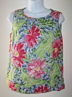 Talbots Vivid Floral Sleeveless Top 10 Petite Cotton Lined w/ Neck Pleat Detail