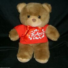 "12"" VINTAGE TEDDY BEAR BROWN OSHKO INTERNATIONAL STUFFED ANIMAL PLUSH TOY SHIRT"