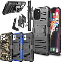 For iPhone 12 11 Pro Max XS X XR Heavy Duty Hard Cover Belt Clip w/Kickstand