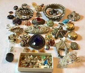 Vintage Rhinestones Jewelry Lot Repair Repurpose Salvage Crafts Harvest Broken