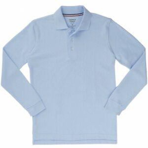 French Toast Boy's Long Sleeve Pique Polo Light Blue Uniform Shirt