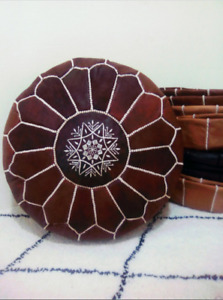 2 Moroccan Leather Pouf Mustard Moroccan Poufs Ottoman FAST SHIPPING