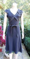 MOSCHINO Cheap and Chic Black Silk Dress Origami Applique Sz 6 MINT AUTH