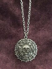 FREE GIFT BAG Silver Plated Pirates of Caribbean Aztec Coin Necklace Chain Xmas