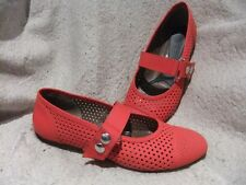 MARNI RED LEATHER PERFORATED MARY JANE Flats Shoes w/ Snaps - Size 37/7