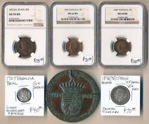 (1767-1951) FIVE OLD SPAIN & PORTUGAL COINS + 1 MEDAL > CAT VALUE $450+ NO RSRV