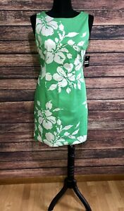 Studio I Green White Floral NWT Dress 10 L Large Sleeveless Lined Scoop Neck New