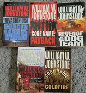 WILLIAM W JOHNSTONE MILITARY ACTION / THRILLER PAPERBACK 5 BOOK LOT NOVELS